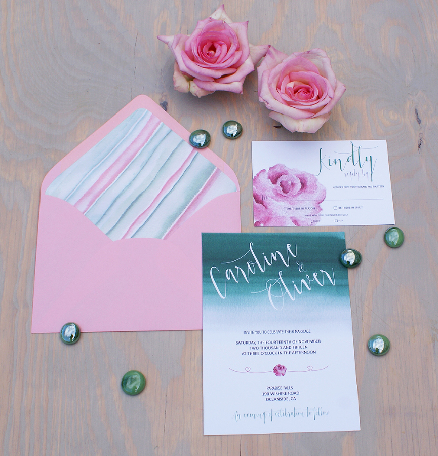 Mint and pink wedding invitation painted with watercolors