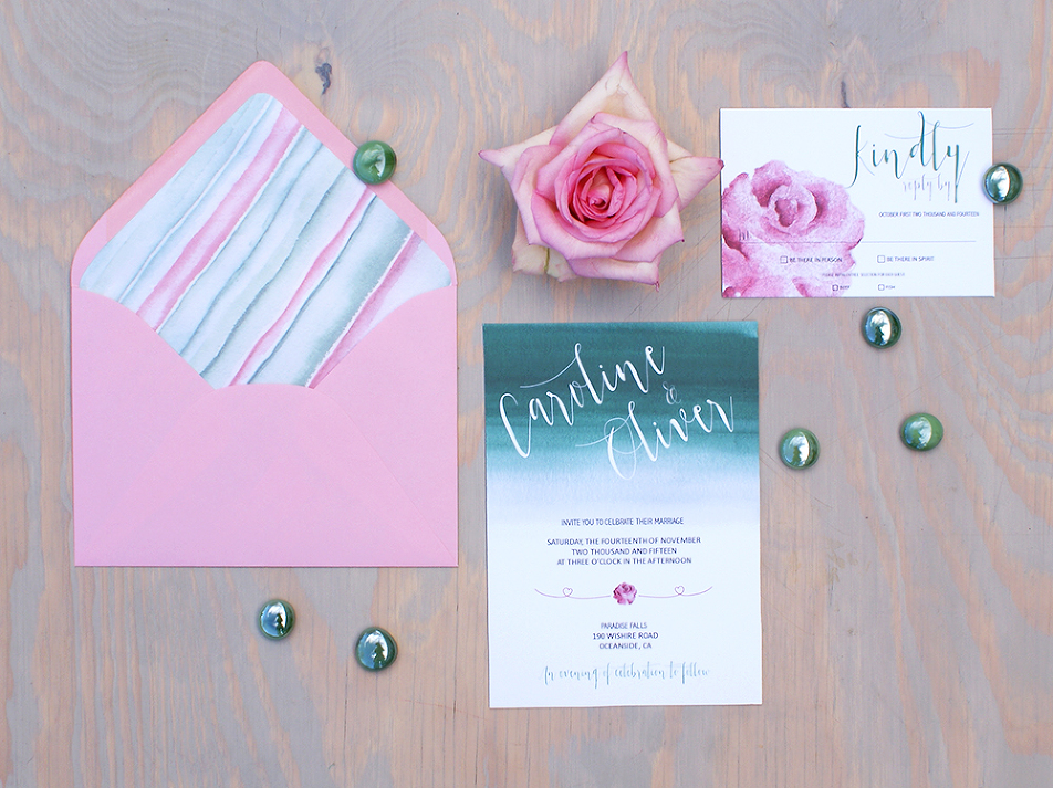 Mint and pink wedding invitation painted with watercolors Bohemian