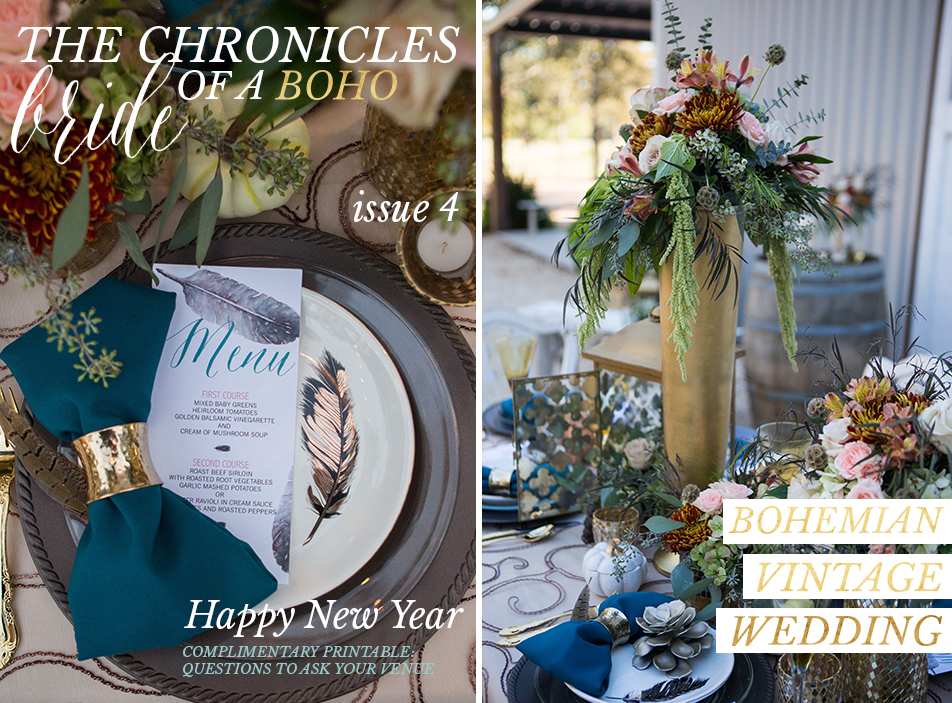 THE CHRONICLES OF A BOHO BRIDE TEAL GOLD WEDDING Bohemian Mint