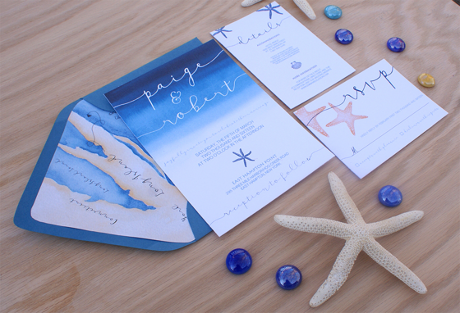 Ocean themed wedding invitation with a wedding map Bohemian Mint