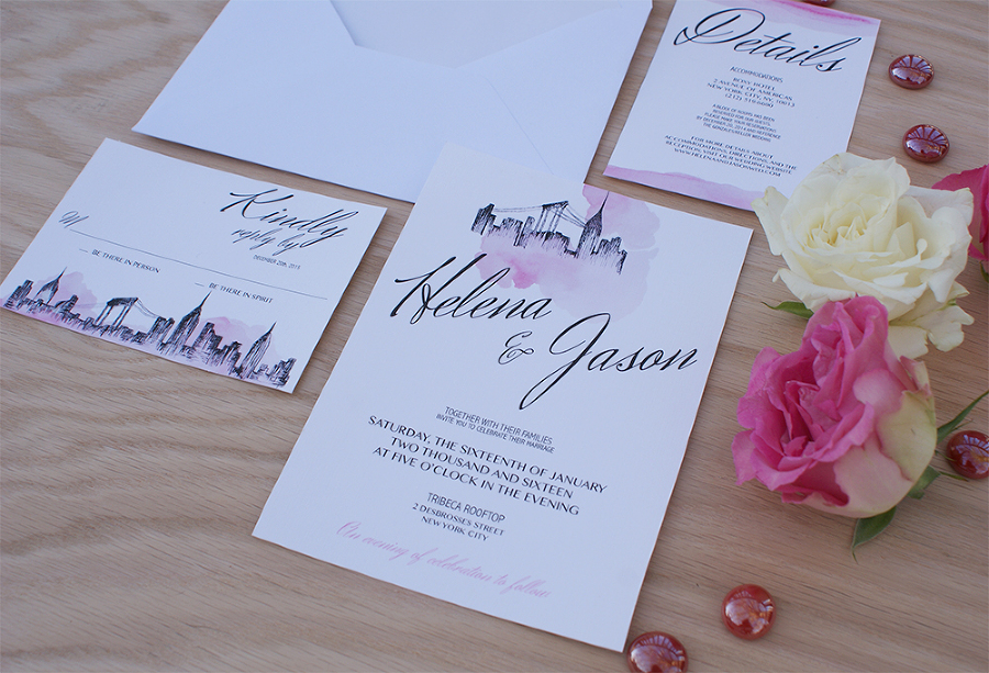 New York City Wedding Invitation Handpainted with Watercolors ...