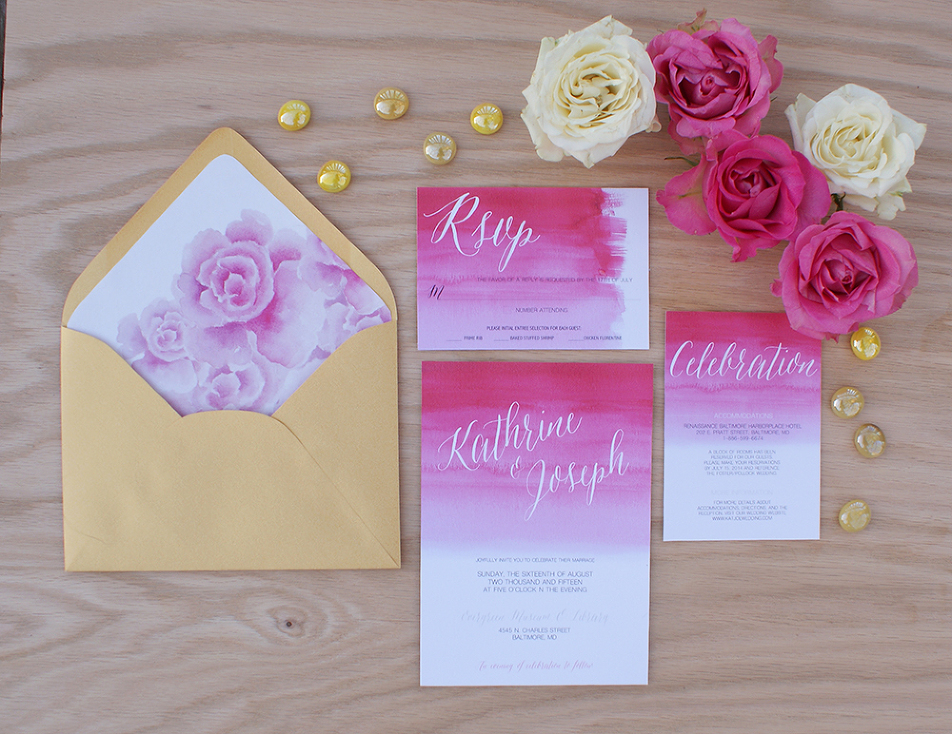 Ombre Wedding Invitation: Pink Ombre Wedding Invitation Handpainted With Watercolors