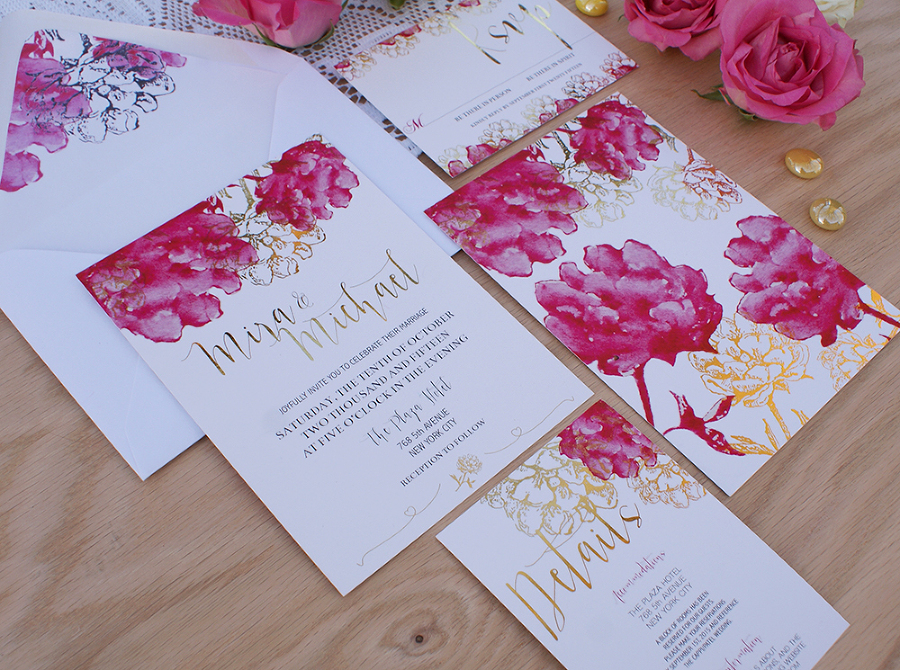 Gold foil wedding invitation with pink watercolor flowers » Bohemian ...