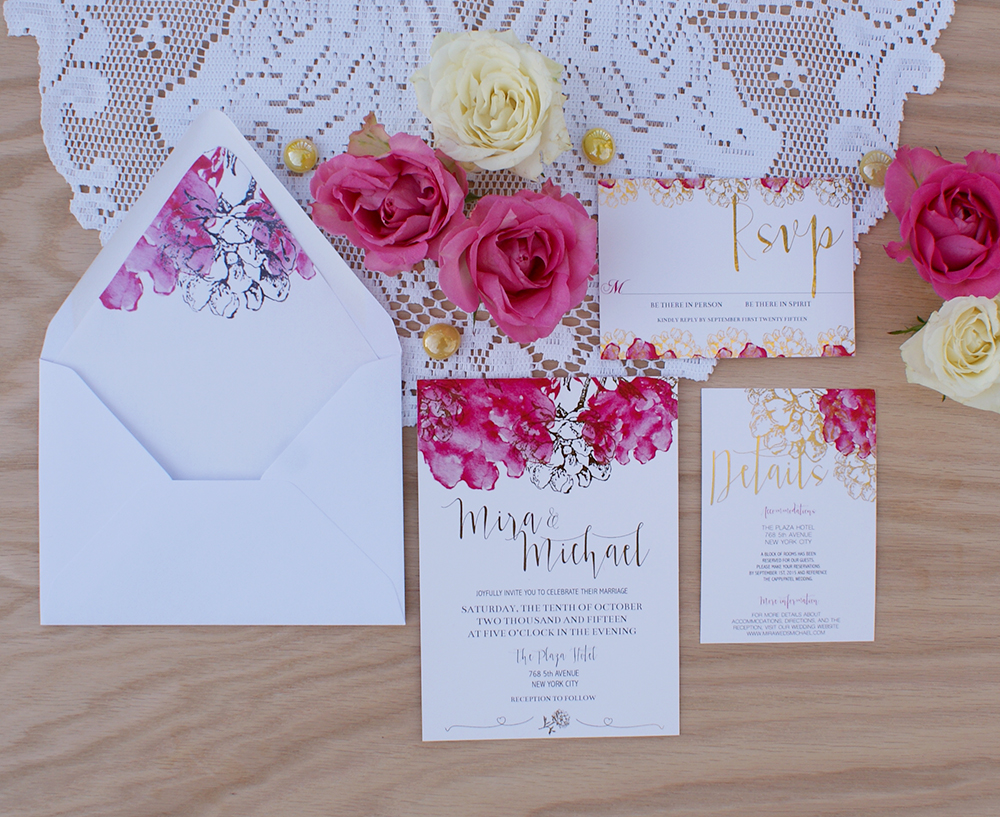 gold foil wedding invitation with pink watercolor flowers bohemian mint. Black Bedroom Furniture Sets. Home Design Ideas