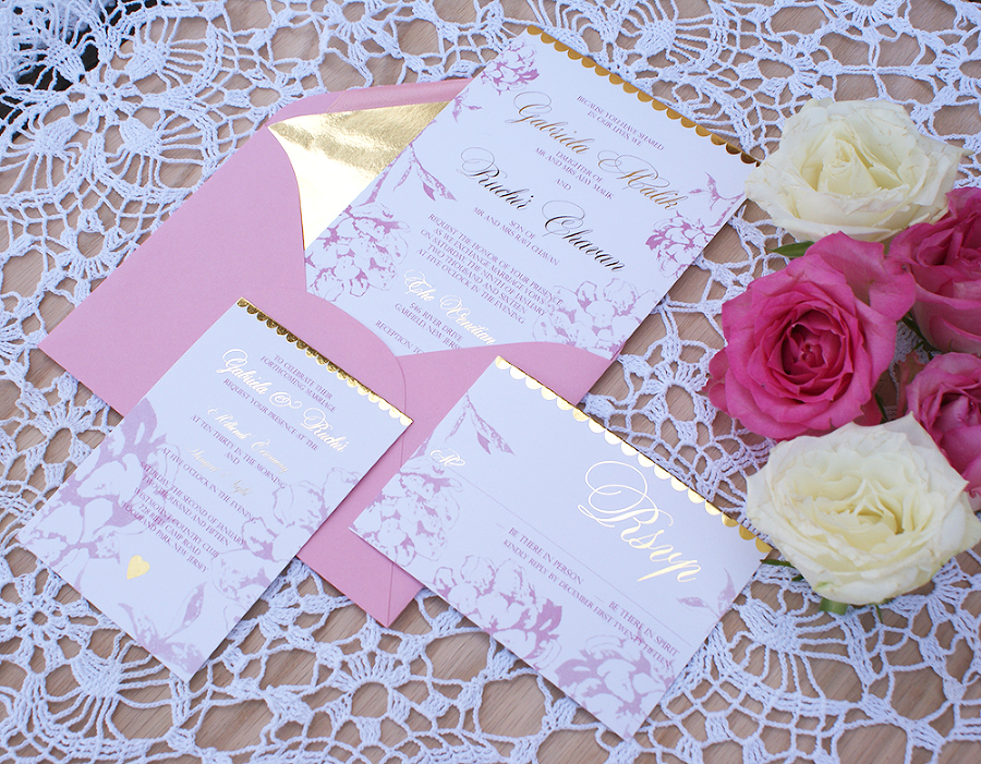 Gold Foil Wedding Invitation With Blush Pink Watercolor Design. Gold ...