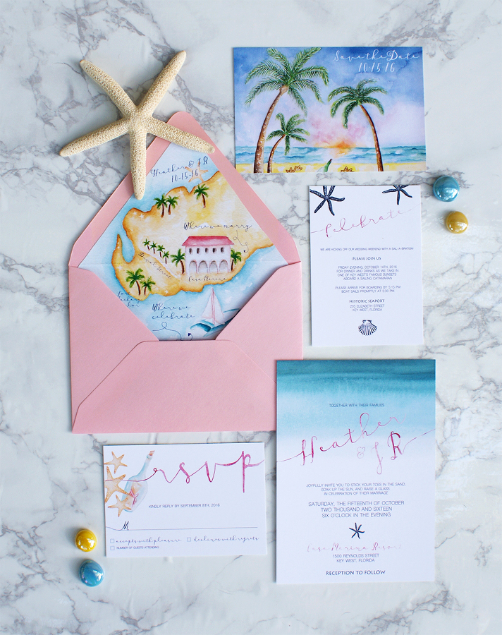 Watercolor beach wedding invitations with a wedding map » Bohemian Mint