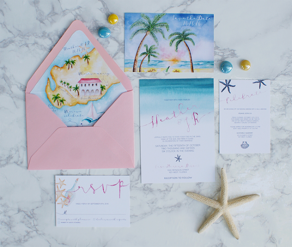 Watercolor Beach Wedding Invitations With A Map
